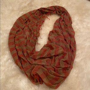 Orange and tan infinity tassel scarf
